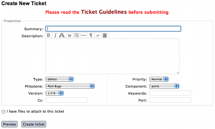 screenshot of a new ticket on the Trac system